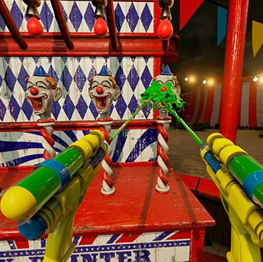 Dispara pintura a payasos en NVIDIA VR Funhouse