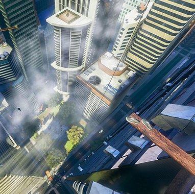 Tablero de madera en rascacielos en Richies Plank Experience en VR